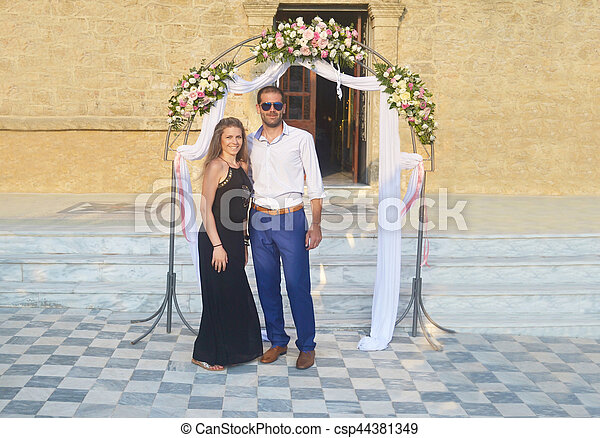 Couple Formally Dressed At A Greek Wedding Happy Couple Formally