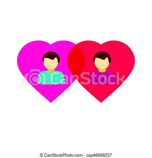 Couple Gay In Love Hearts Flat Homosexual Relations Symbol Couple