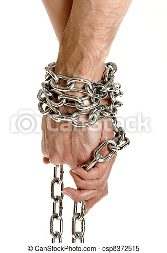 Couple hands chained together - csp8372515