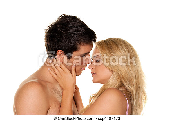 Couple has fun and joy. Love, eroticism and tenderness in everyday life. - csp4407173