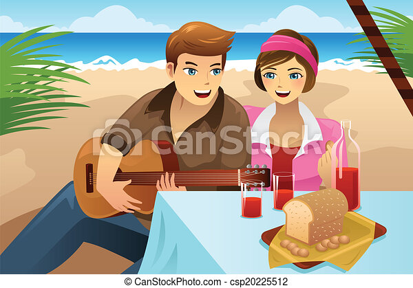 Couple having a picnic. A vector illustration of happy ...