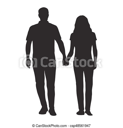 couple holding hands man and woman dating vector silhouette people in love