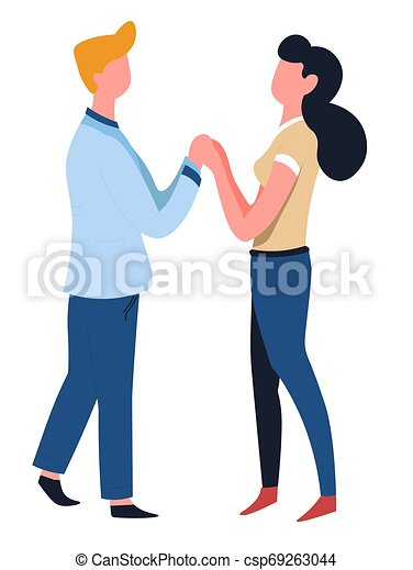 Couple Holding Hands Man And Woman Love Isolated Characters