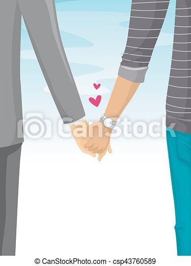 Couple Holding Hands Walking - csp43760589