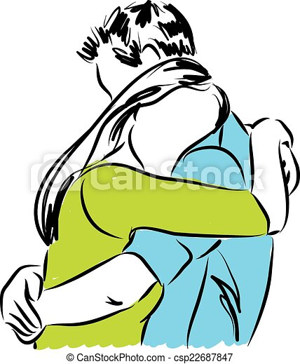 couple hugging each other illustrat - csp22687847