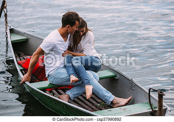 Couple in boat - csp37990892