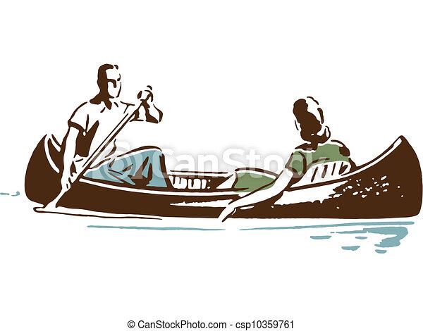 Couple in canoe - csp10359761