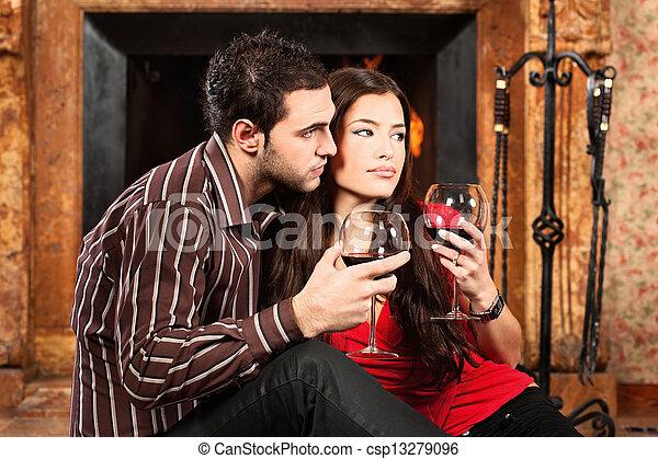 Couple in love enjoying wine - csp13279096