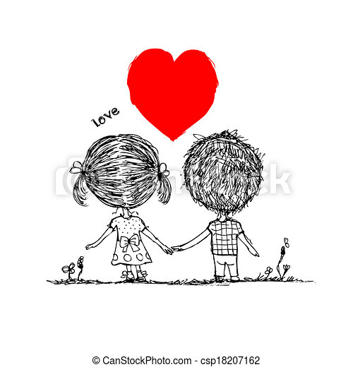 Couple in love together, valentine sketch for your design - csp18207162