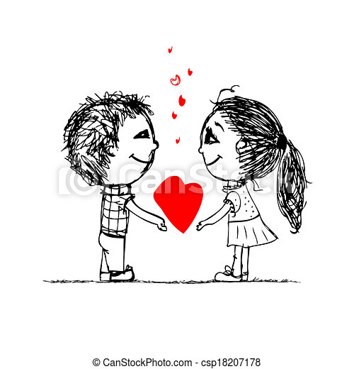 Couple in love together, valentine sketch for your design - csp18207178