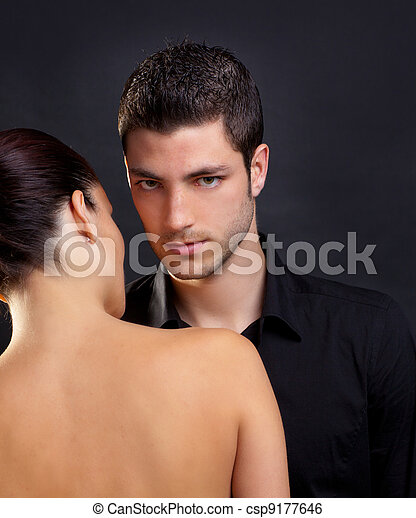 Couple in love with handsome man and rear woman - csp9177646