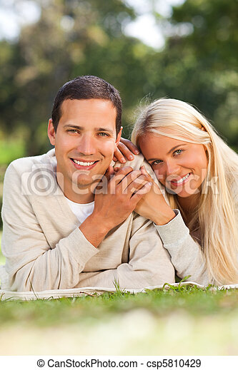Couple in the park - csp5810429