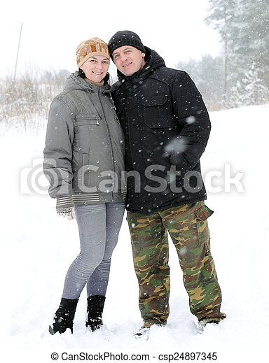 Couple in the woods - csp24897345