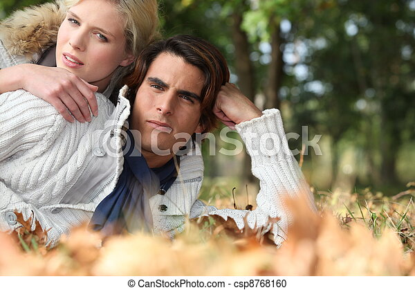 Couple in the woods - csp8768160