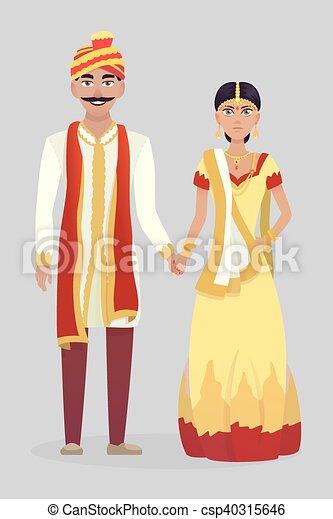 Couple, Indien, Dessin Animé, Mariage