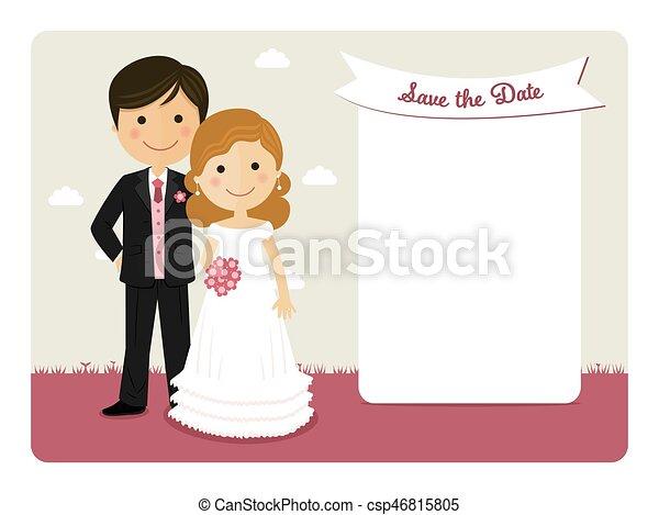 Couple invitation sourire dessin anim mariage - Dessin invitation ...