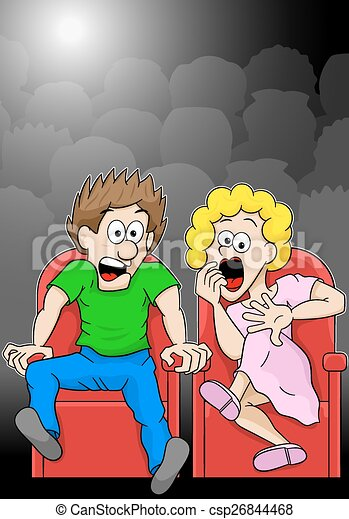 Vector Illustration Of A Couple Is Watching A Horror Movie Movie In A Cinema.