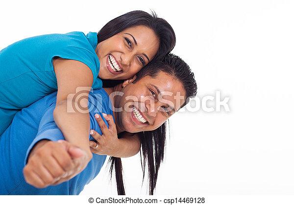 couple, jeune, ferroutage, indien, amusement, avoir - csp14469128