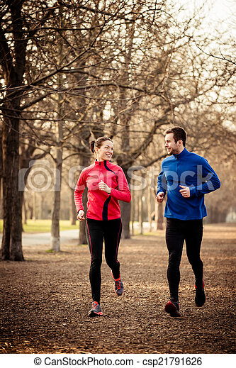 Couple jogging together - csp21791626