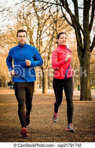 Couple jogging together - csp21791742