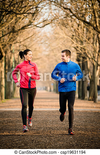 Couple jogging together - csp19631194