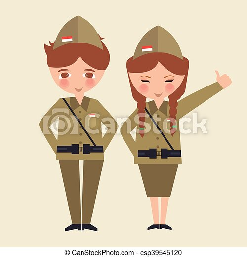 couple kids cartoon wearing freedom fighter army uniform Indonesia - csp39545120