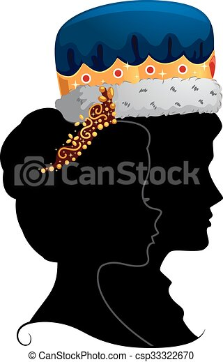 couple king queen silhouette profile profile illustration featuring