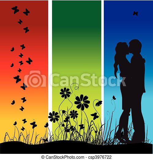 Couple kisses on a meadow, black silhouette - csp3976722