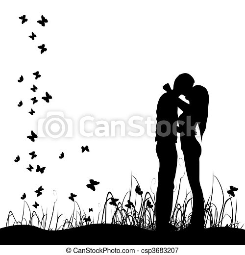 Couple kisses on a meadow, black si - csp3683207