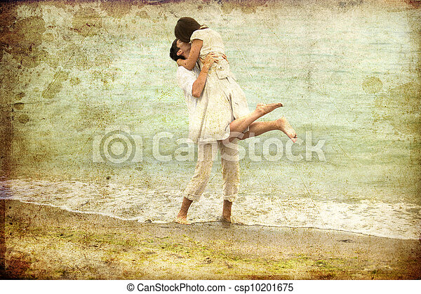 Couple kissing at the beach. - csp10201675
