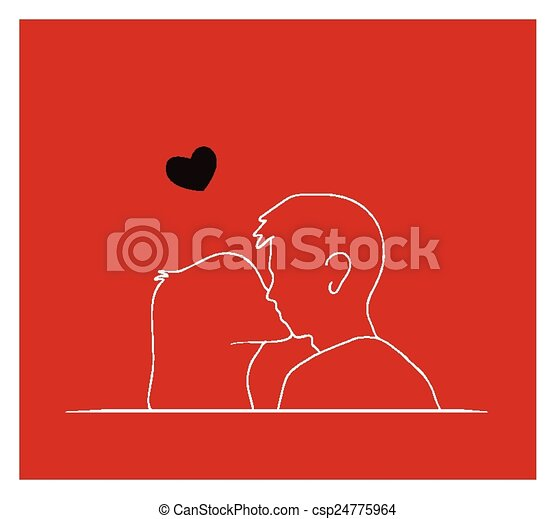 Couple Kissing In Front Of Red Background A Symbol Of Love