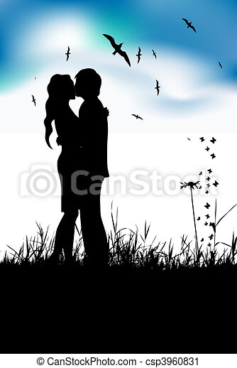 Couple kissing on summer meadow, black silhouette - csp3960831