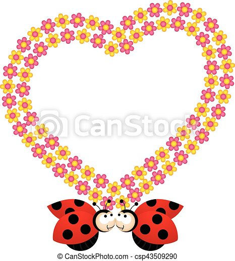 Couple ladybirds with flower heart frame. Scalable vectorial image ...