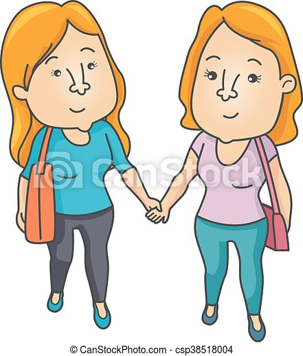 Couple Lesbian Hold Hands - csp38518004