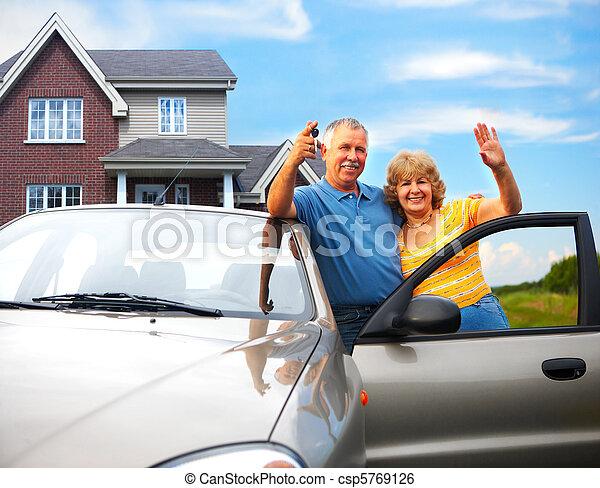 couple, leur, maison âgée - csp5769126