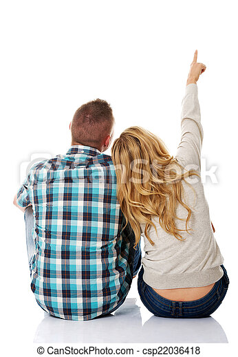 Couple look on empty copy space - csp22036418