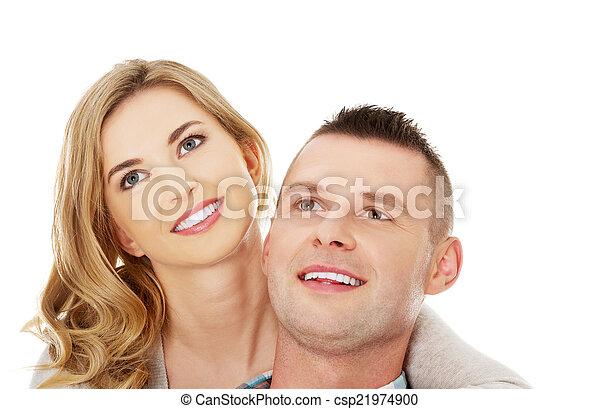 Couple look on empty copy space - csp21974900