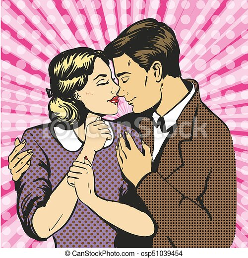Couple love dialogue. Man and woman in love. Communication, emotions, family psychology. Saint Valentine - csp51039454