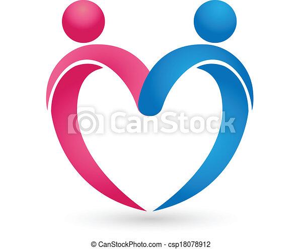 Couple love heart figures logo - csp18078912