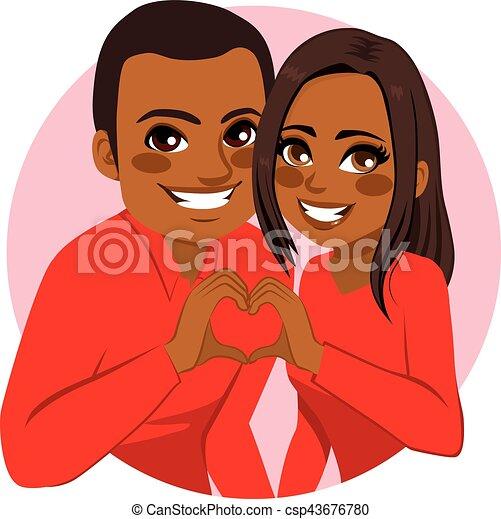 Couple Making Heart Symbol - csp43676780