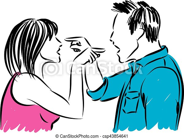 couple man and woman arguing illustration - csp43854641