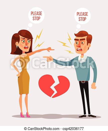 Couple man and woman characters quarrel. Vector flat cartoon illustration - csp42036177