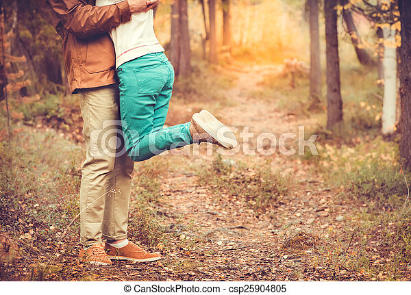 Couple Man and Woman hugging in Love Romantic relationship Lifestyle concept Outdoor  with nature on background Fashion trendy style - csp25904805