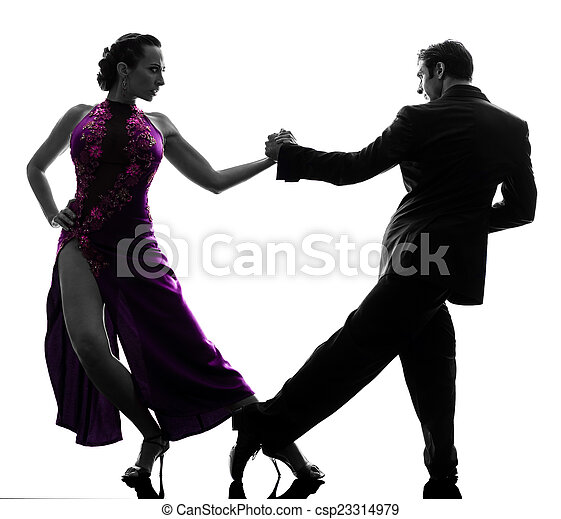couple man woman ballroom dancers tangoing  silhouette - csp23314979