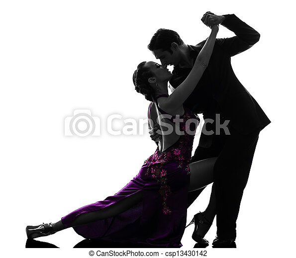 couple man woman ballroom dancers tangoing  silhouette - csp13430142