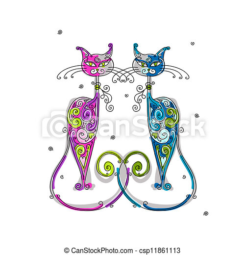 Couple of cats silhouette for your design - csp11861113