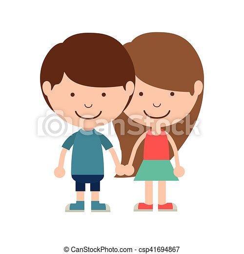 Couple Of Children Taken From The Hand Vector Illustration