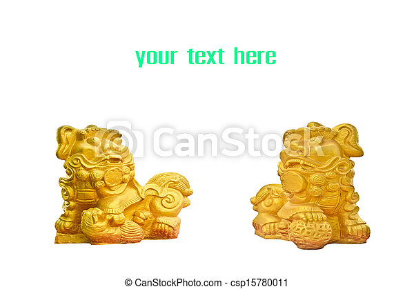 Couple Of Chinese Golden Lion Statues Usually A Male Lion Is On The
