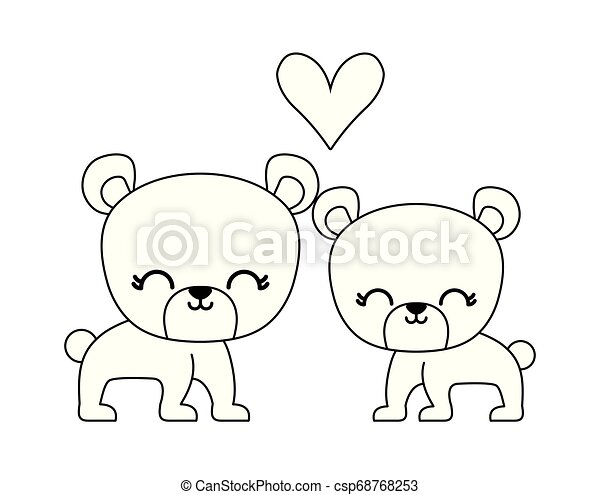 couple of cute bear animal isolated icon - csp68768253