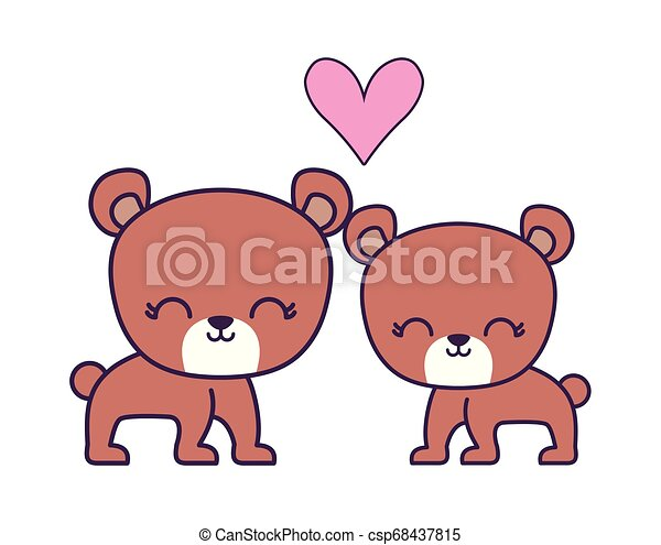 couple of cute bear animal isolated icon - csp68437815